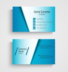 Business card with blue stripes template vector