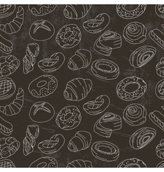 Seamless pattern with different pastry vector