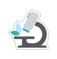 Paper sticker on the white background microscope vector