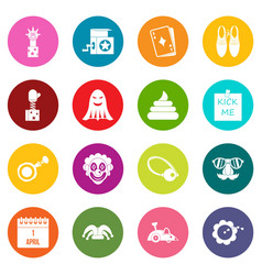 april fools day icons many colors set vector image