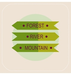 Arrows forest river mountain icon vector