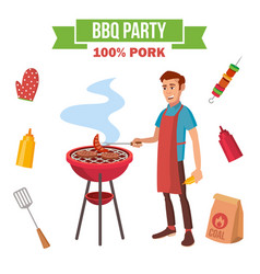 bbq grill meat cooking man cooking meat vector image