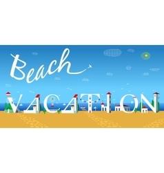 Beach vacation travel card artistic font vector