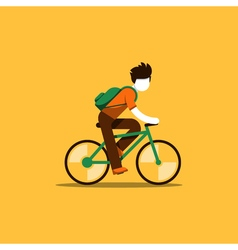 Bicyclist riding to school or work vector