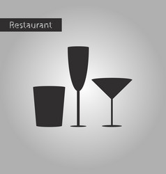 Black and white style icon glasses for wine and vector
