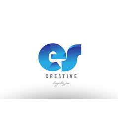 blue gradient es e s alphabet letter logo vector image vector image
