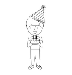 boy holding birthday cake with candles vector image