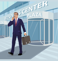 Businessman comes out of business center vector