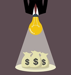 Businessman with a light bulb head glow to the vector image vector image