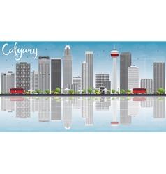 Calgary skyline with gray buildings blue sky vector