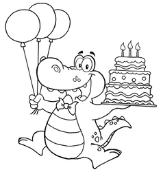 Cartoon crocodile birthday vector