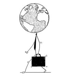 Cartoon of walking businessman with earth world vector