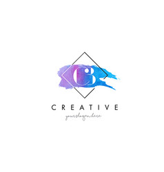 Cb artistic watercolor letter brush logo vector