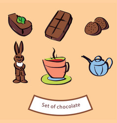 chocolate figures set of chocolate vector image vector image