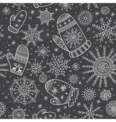 Christmas mittens and snowflakes mix seamless vector