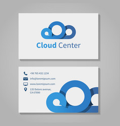 Cloud computing center business card template vector image vector image