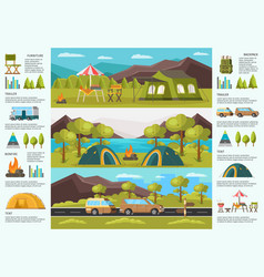 Colorful traveling camping infographic template vector