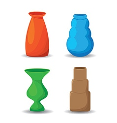 Colorful vases set vector image vector image