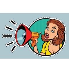 Comic woman agitator shouts into a megaphone vector image vector image