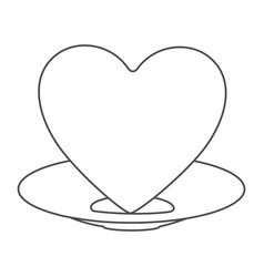 Contour of healthy heart food and heart on dish vector
