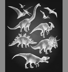 Dinosaurs in stippling technique vector