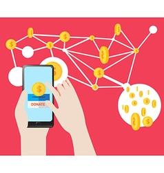 Donate button on smartphone screen vector