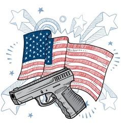 doodle americana gun vector image vector image