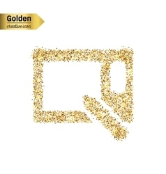 Gold glitter icon of graphics tablet vector