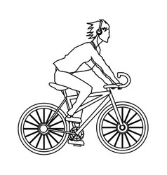 Guy rider bike with headphones outline vector