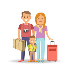 happy family with full suitcases ready to travel vector image vector image