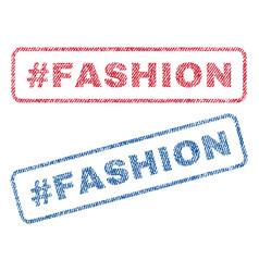 Hashtag fashion textile stamps vector