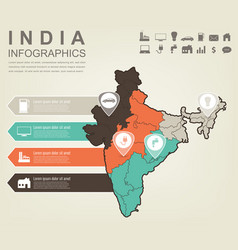 India map with infographic elements infographics vector