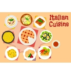 Italian cuisine lunch with dessert pie icon vector