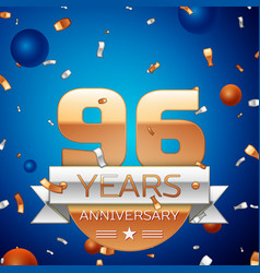 Ninety six years anniversary celebration design vector