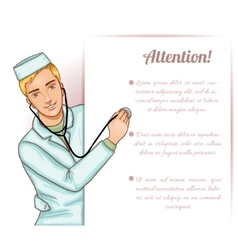 Nurse boy with stethoscope at placard vector image vector image