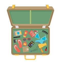 packed suitcase for summer holiday - vector image vector image