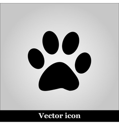 Paw Print on grey background vector image vector image