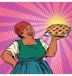 Retro old female african-american berry pie vector