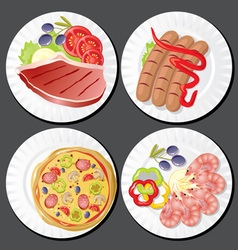 set food on plates vector image vector image