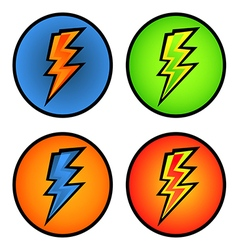 set of colorful lightning bolts in the circle vector image vector image