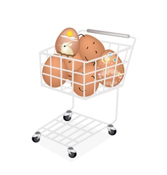 Stack of Easter Egg in Shopping Cart vector image vector image