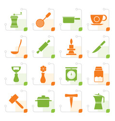 Stylized kitchen and household tools icons vector