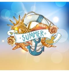 Summer card with sea shells anchor lifeline vector
