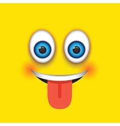 Tongue out square emoji vector
