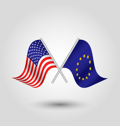 Two crossed american and eu flags vector