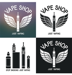 Vape shop logo icons e-cigarette and accessories vector