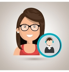 Woman call center attention vector