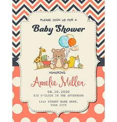 Beautiful baby girl shower card with toys vector