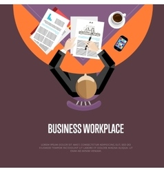 Top view business workplace in flat style vector image