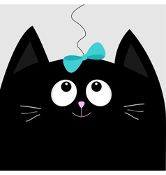 Black cat head looking at blue bow hanging on vector